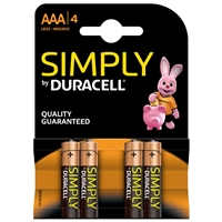 Duracell Simply Alkaline Pack of 4 AAA Batteries