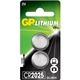 GP Lithium Cell Pack of 2 Coin Cell CR2025 Batteries