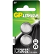 GP Lithium Cell Pack of 2 Coin Cell CR2032 Batteries