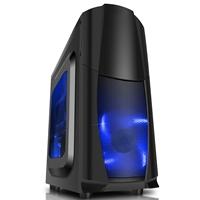 CIT Dragon� Midi Tower 1 x USB 3.0 / 2 x USB 2.0 Window Panel Blue LED Fans Black Case