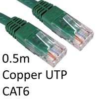 RJ45 (M) to RJ45 (M) CAT6 0.5m Green OEM Moulded Boot Copper UTP Network Cable