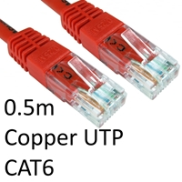 RJ45 (M) to RJ45 (M) CAT6 0.5m Red OEM Moulded Boot Copper UTP Network Cable