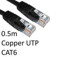 RJ45 (M) to RJ45 (M) CAT6 0.5m Black OEM Moulded Boot Copper UTP Network Cable