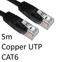 RJ45 (M) to RJ45 (M) CAT6 5m Black OEM Moulded Boot Copper UTP Network Cable