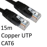 RJ45 (M) to RJ45 (M) CAT6 15m Black OEM Moulded Boot Copper UTP Network Cable