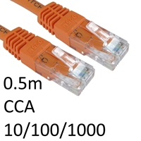 RJ45 (M) to RJ45 (M) 10/100/1000 Network 6 0.5m Orange OEM Moulded Boot CCA Economy Network Cable
