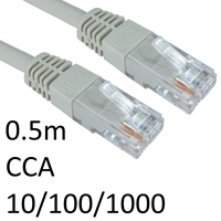 RJ45 (M) to RJ45 (M) CAT6 0.5m Grey OEM Moulded Boot Network Cable