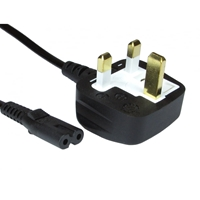 UK Mains to Figure 8 C7 2m Black OEM Power Cable
