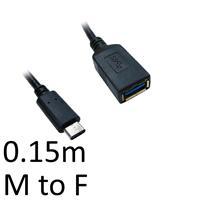USB 3.1 C (M) to USB 3.0 A (F) 0.15m Black OEM Data Adapter