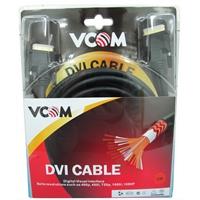 VCOM DVI-D (M) to DVI-D (M) 5m Black Retail Packaged Display Cable