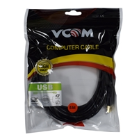VCOM USB 2.0 A (M) to USB 2.0 B (M) 5m Black Retail Packaged Printer/Scanner Data Cable