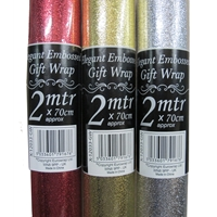 Luxury Embossed Xmas Gift Wrap 2 Metre Roll Length Various Colours