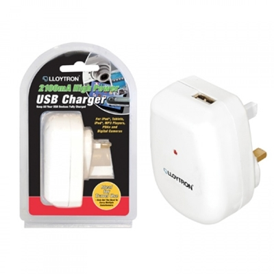 Lloytron 2.1A USB Wall Charger White