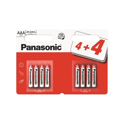 Panasonic Zinc Pack of 8 (4 + 4 Free) AAA Batteries