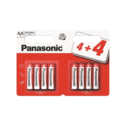Panasonic Zinc Pack of 8 (4 + 4 Free) AA Batteries