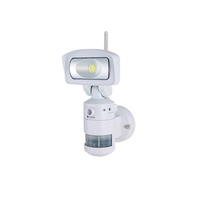 NightWatcher LED White Robotic Security Light with Wi-Fi HD Camera & SD Recorder