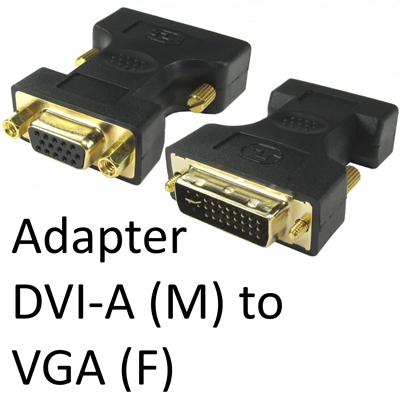 DVI-A (M) to VGA (F) Black OEM Adapter