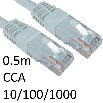 RJ45 (M) to RJ45 (M) 10/100/1000 Network 6 0.5m White OEM Moulded Boot CCA Economy Network Cable