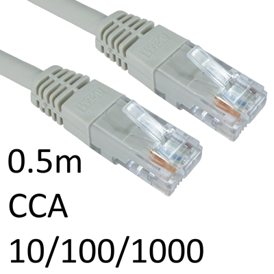 RJ45 (M) to RJ45 (M) 10/100/1000 Network 6 0.5m Grey OEM Moulded Boot CCA Economy Network Cable