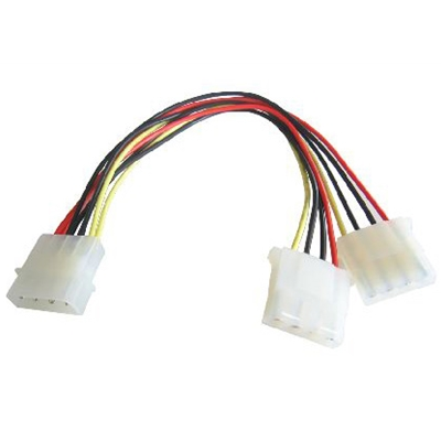 4-Pin Molex (M) to 2 x 4-Pin Molex (F + F) 0.2m OEM Internal Splitter Cable