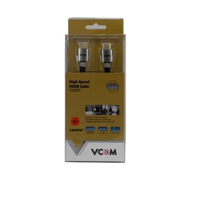VCOM HDMI 1.4 (M) to HDMI 1.4 (M) 1.8m Black Nylon Braided Aluminium Headed Retail Packaged Professional Display Cable