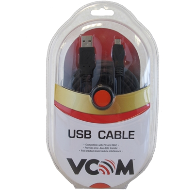 VCOM USB 2.0 A (M) to USB 2.0 Mini B (M) 3m Black Retail Packaged Data Cable