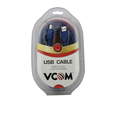 VCOM USB 3.0 A (M) to USB 3.0 B (M) 1.8m Blue Retail Packaged Printer/Scanner Data Cable