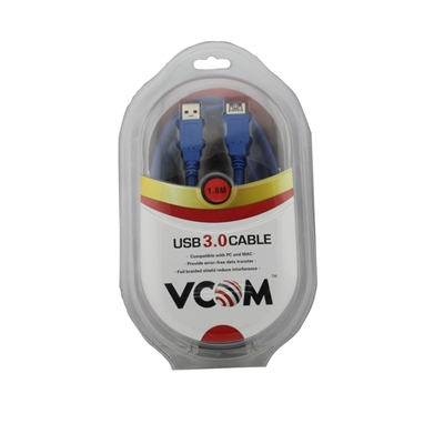 VCOM 3.0 A (M) to USB 3.0 A (F) 1.8m Blue Retail Packaged Extension Data Cable