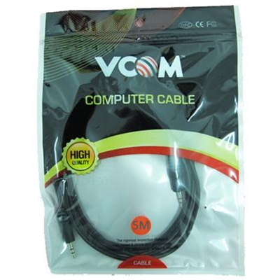 VCOM 3.5mm (M) Stereo Jack to 3.5mm (M) Stereo Jack 5m Black Retail Packaged Cable