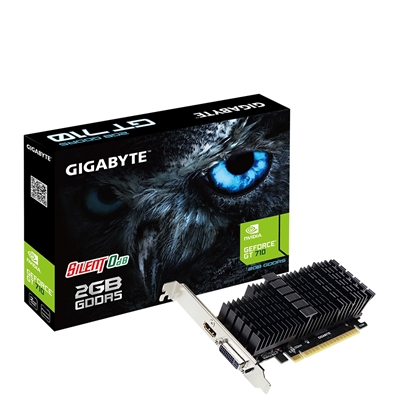 Gigabyte GeForce GT 710 2GB GDDR5 Silent 0dB Passive Cooling System Low Profile Graphics Card