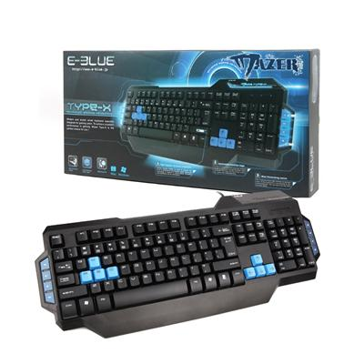E-Blue EKM072BK Mazer Type-X Black USB Blue Illuminating Gaming Keyboard