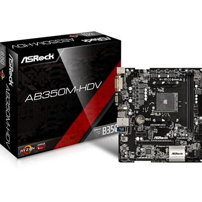 ASRock AB350M-HDV AMD Socket AM4 Ryzen Micro ATX DDR4 D-Sub/DVI-D/HDMI Ultra M.2 USB 3.0 Motherboard