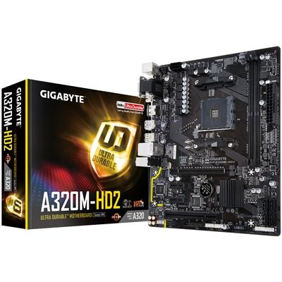 Gigabyte GA-A320M-HD2 AMD Socket AM4 Ryzen Micro ATX DDR4 D-Sub/DVI-D/HDMI USB 3.1 Motherboard