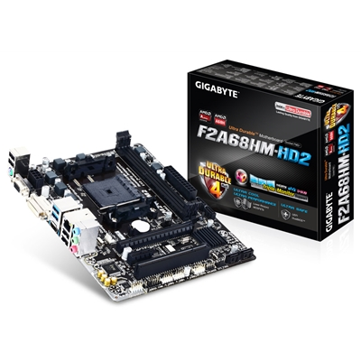 Gigabyte F2A68HM-HD2 AMD Socket FM2+ Micro ATX DDR3 VGA/DVI-D/HDMI USB 3.0 Motherboard