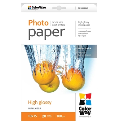 ColorWay High Glossy 6x4 180gsm Photo Paper 20 Sheets