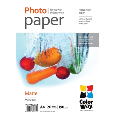 ColorWay Matte A4 190gms Photo Paper 20 Sheets