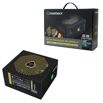 Game Max GM500G 500W 140mm Silent Black Fan 80 PLUS Gold Semi Modular PSU