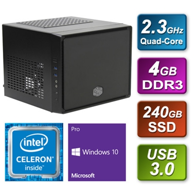 Cooler Master Cube Intel Quad Core 240GB SSD 4GB RAM with Windows 10 Pro Installed - Pre-Built System