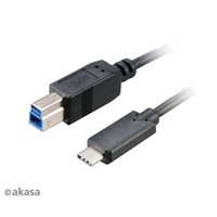 Akasa Usb 3.0 Type-b Male To Usb 3.1 Type-c Male 1m Superspeed Cable Ak-cbub28-10bk - Tgt01