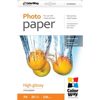 Colorway Print High Glossy A4 230gms Photo Paper 20 Sheets Pg230020a4 - Tgt01