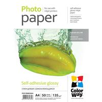 Colorway Glossy A4 135-80gsm Self Adhesive Photo Paper 50 Sheets Pgs1358050a4 - Tgt01