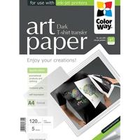 Colorway Art T-shirt Transfer Paper Dark 120g/m� A4 5 Sheets Ptd120005a4 - Tgt01