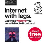 Three 3g Broadband Pre Pay 200mb Data Reward Trio Sim Card 35200 - Tgt01