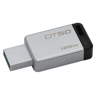 Kingston Datatraveler 50 128gb Usb 3.0/3.1 Silver And Black Usb Flash Drive Dt50/128gb - Tgt01