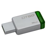 Kingston Datatraveler 50 16gb Usb 3.0/3.1 Silver And Green Usb Flash Drive Dt50/16gb - Tgt01