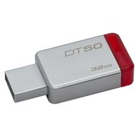 Kingston Datatraveler 50 32gb Usb 3.0/3.1 Silver And Red Usb Flash Drive Dt50/32gb - Tgt01