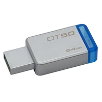 Kingston Datatraveler 50 64gb Usb 3.0/3.1 Silver And Blue Usb Flash Drive Dt50/64gb - Tgt01