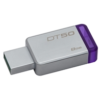 Kingston Datatraveler 50 8gb Usb 3.0/3.1 Silver And Purple Usb Flash Drive Dt50/8gb - Tgt01