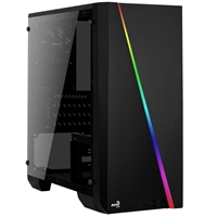 Aerocool Cylon Mini Micro Tower 1 X Usb 2.0 / 1 X Usb 3.0 Tempered Glass Side Window Panel Black Case With Rgb Led Illumination Accs-pv12013.11 - Tgt01