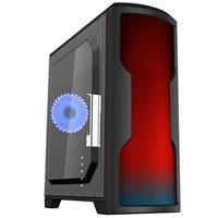 CiT Matrix Mid Tower 1 x USB 3.0 / 2 x USB 2.0 Side Window Panel Black Case with 75 RGB LED Rainbow Panel